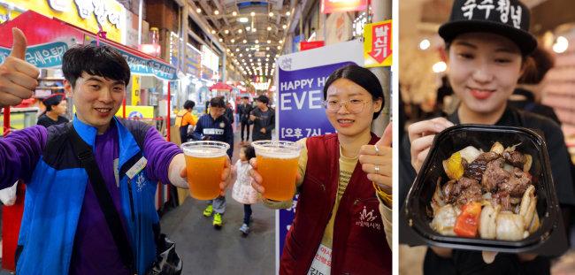 오산 오색시장에서는 수제 맥주도 맛볼 수 있다.(왼쪽) 어엿한 사업가를 꿈꾸는 청년들의 철판 스테이크. [박해윤 기자]