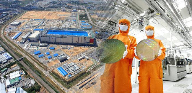 경기도 평택 반도체 단지와 반도체 제조시설 내부. [동아DB]