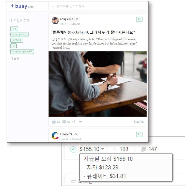스팀잇의 서드파티 busy.org(위)와 스팀잇 게시물에 표시된 보상 내역. $는 미화가 아닌 스팀달러를 의미한다.