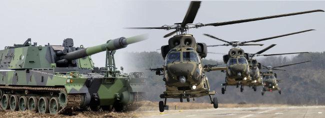 유럽에 수출된 K-9 자주포.(왼쪽) '깡통 헬기' 논란에 휩싸였던 수리온 헬기. 군 안팎에서는 감사원의 과도한 감사를 비판하는 목소리가 높았다. [동아DB]