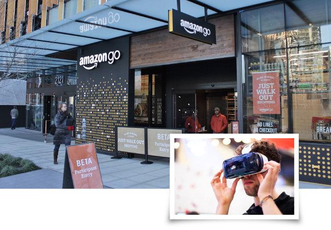 미국 워싱턴주 시애틀 아마존 본사에 위치한 아마존 고 매장(위). 가상현실로 쇼핑할 수 있는 서비스를 개발 중인 월마트(오른쪽). [JISC]