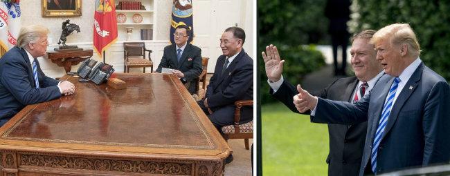 6월 1일 김정은 북한 국무위원장의 친서를 들고 온 김영철 노동당 부위원장과 백악관 집무실에서 대화하는 트럼프 미국 대통령(왼쪽). 두 손을 가지런히 모으고 있다. 트럼프는 김영철을 손수 배웅하면서 엄지손가락을 치켜들기도 했다. [뉴시스]