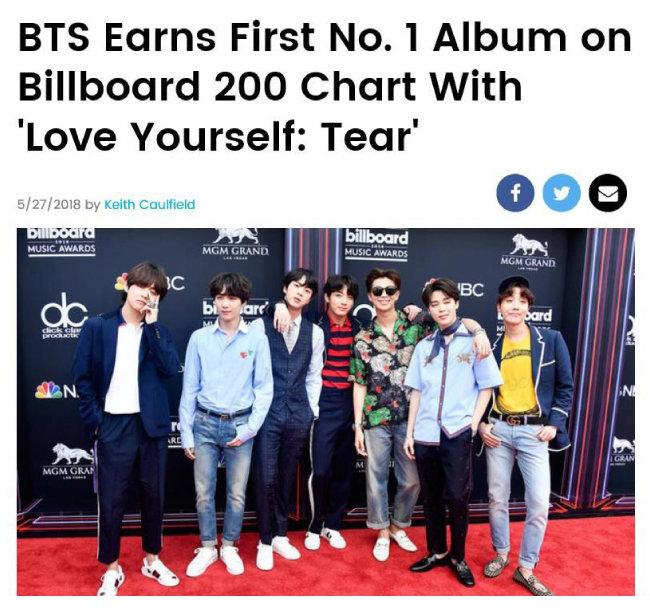 세계 최고 권위의 음악 차트 빌보드는 5월 28일 인터넷 홈페이지를 통해 방탄소년단 3집 'LOVE YOURSELF 轉 'Tear''가 빌보드 200 1위에 올랐다고 알렸다. [빌보드홈페이지 캡처 ]