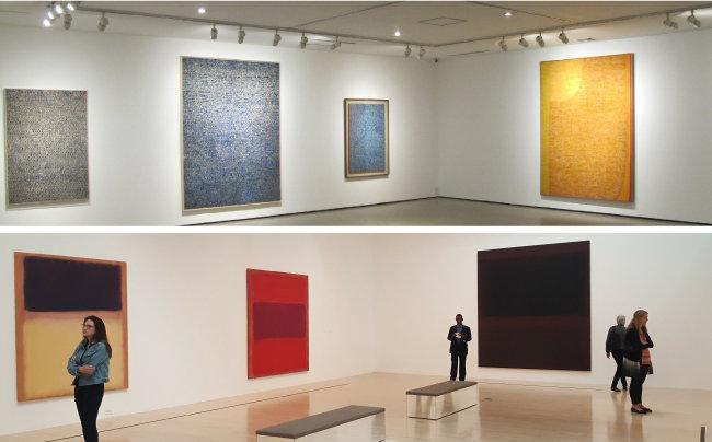 2012년 갤러리현대에서 열린 '한국 현대미술의 거장-김환기' 전(위)과 미국 로스앤젤레스현대미술관(MOCA)에 걸린 마크 로스코의 작품들. 1960년대 뉴욕에서 활동한 두 작가의 작품은 추상표현주의, 거대한 스케일과 그로부터 나오는 숭고미 등의 공통분모를 갖는다.
