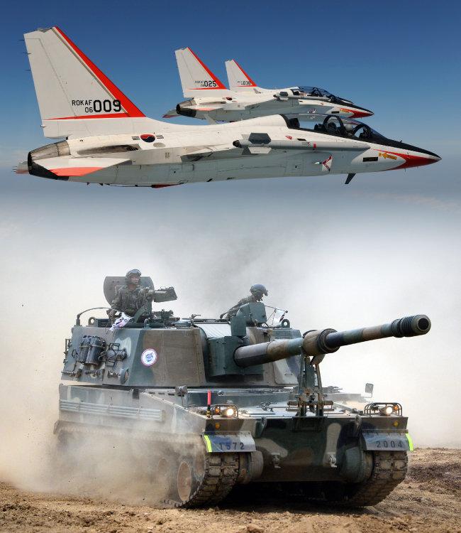 미국 시장 진출을 눈앞에 둔 한국항공우주산업(KAI)의 주력 제품 T-50.(위) 2010년 북한의 연평도 포격 당시 대응 포격으로 깊은 인상을 남긴 K-9. 지속적인 수출로 세계 자주포 시장의 절반을 장악한 명품 무기로 거듭났다.