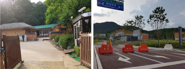 텅빈 박정희 생가(왼쪽)와 용도가 불분명해진 새마을운동테마공원. [최호열 기자]