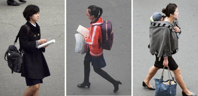 """진징이 베이징대 교수는 """"평양의 옷차림이 서울을 닮아가고 있다""""고 했다. 4월 6일  평양 거리를 걷는 여성들을 촬영했다. [공동취재단]"""