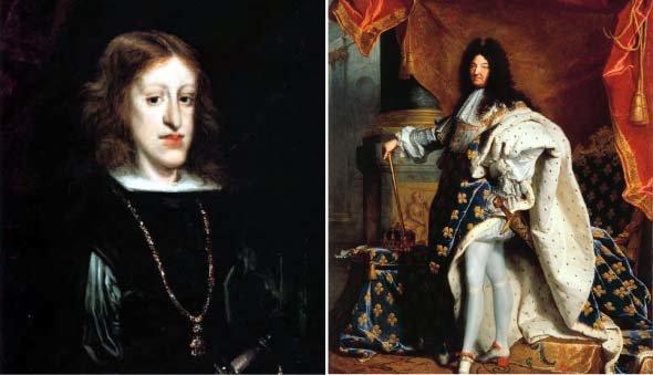 스페인의 마지막 합스부르크 왕 카를로스 2세. 나중에 그의 죽음으로 인해 스페인 제국의 왕위 계승을 두고 프랑스와 오스트리아 사이에서 전쟁이 벌어졌다(위). 프랑스의 루이 14세 [wikimedia commons]