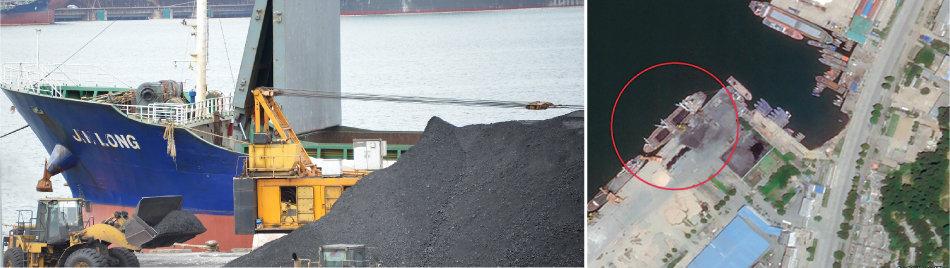 지난해 북한산 석탄을 국내에 반입한 의혹을 받고 있는 진룽호가 8월 7일 경북 포항신항에 입항해 러시아에서 싣고 온 석탄 하역 작업을 하고 있다.(왼쪽) 7월 16일 민간 위성업체 '플래닛'이 찍은 북한 원산항에 정박한 석탄운반선.