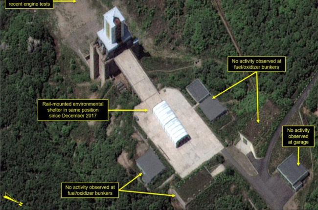 평안북도 철산군 동창리 서해위성발사장. 북한은 이곳을 폐쇄했지만 비핵화에서 진전을 보이지 못하고 있다.