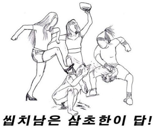 한 온라인 커뮤니티에 오른 여성들의 남성 집단구타 그림.[동아DB]