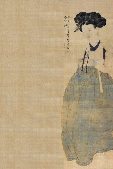 조선 시대 여성을 표현한 그림 가운데 가장 아름다운 작품으로 꼽히는 신윤복의 '미인도'. 간송미술관 소장. [동아DB]