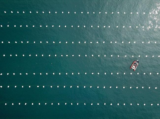 푸른 남해바다의 양식장