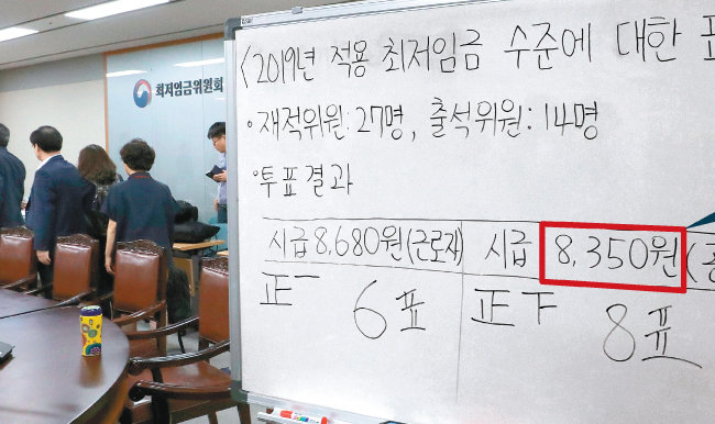7월 14일 새벽 정부세종청사에서 열린 최저임금위원회 전원회의에서 위원 8명이 지지한 시급 8350원이 내년도 최저임금으로 확정됐다. [동아DB]
