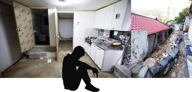 폭우로 살림살이가 다 떠내려간 응암3동 지하방(왼쪽). 옹벽이 허물어지면서 빗물이 안방을 덮쳐 수해를 입은 중계4동 노부부의 집. [홍중식 기자]