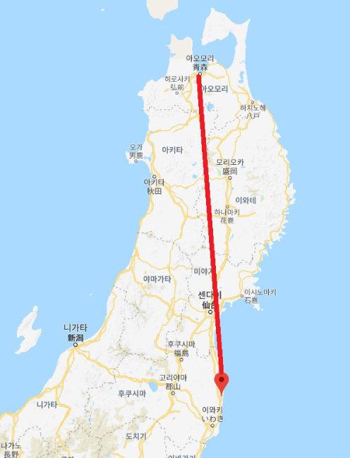 아오모리현은 후쿠시마 원전사고 지역에서 약 350km 떨어져 있다.