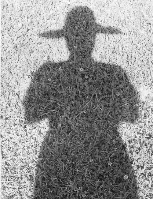법산스님이 잔디에 드리워진 자신의 그림자를 찍은 자화상. 스님은 '그림자 속의 나, 내 속의 그림자, 나는 누구인가?' 하고 묻는다. [법산스님 제공]