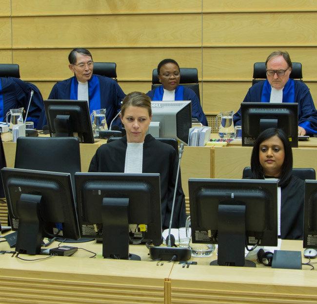 국제형사재판소 상고심 심리 모습.