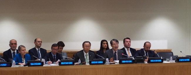 2014년 7월 17일 유엔과 국제형사재판소의 관계에 대해 토론하는 세미나가 열렸다. 앞줄 오른쪽에서 두 번째가 나다.