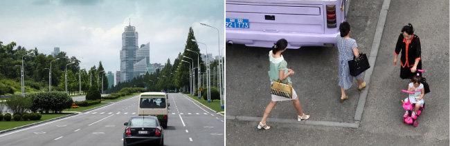 남북 통일농구대회가 열린 7월 3일 촬영한 평양 거리(왼쪽), 7월 5일 평양시민들이 출근하며 거리를 지나고 있다. [사진공동취재단]