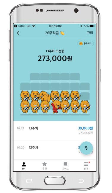 김민성 씨의 카카오뱅크 26주 적금 현황.