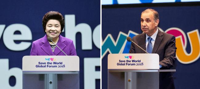 """장길자 국제위러브유 회장은 개회사에서 """"이번 포럼이 인류의 행복과 화합을 위한 실천 의지를 확인하는 자리가 되기를 기대한다""""고 했다(왼쪽). 아델 모하마드 아다일레 주한 요르단 대사는 """"난민은 한 국가에 국한한 문제가 아니라 인류의 문제""""라고 했다."""