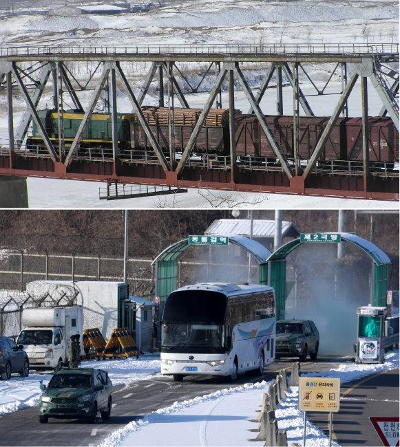 두만강 철로를 지나고 있는 북한 화물열차(위). 1월 25일 경의선 도로를 통해 입경하는 북측 동계올림픽 선수들과 관계자들(아래). [동아DB]
