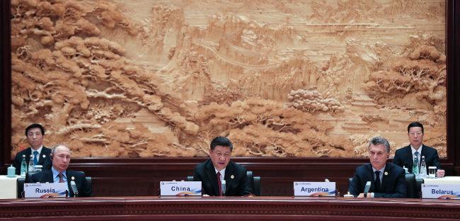 2017년 5월 15일 베이징에서 열린 일대일로 국제회의. [AP=뉴시스]