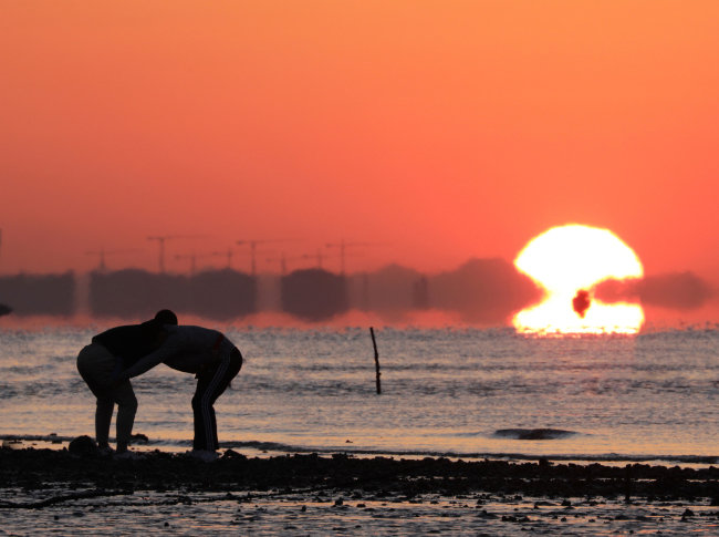 인천 영종도 거잠포해변에서 부평고등학교(박종하 교장) 씨름부 선수들이 일출의 기운을 받으며 훈련을 하고 있다.