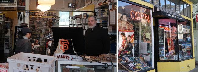 샌프란시스코 비디오 대여점 '비디오 웨이브(Video Wave)' 매장 외부(오른쪽)와 내부. 운영자 콜린 허튼 씨가 손님을 맞고 있다.