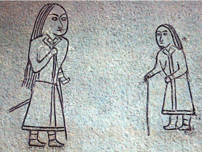 몽골에서 발견된 6~8세기경 돌궐족 벽화. [위키피디아]