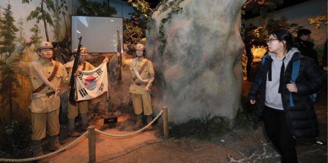 독립군의 항일무장투쟁을 보여주는 모형 전시관.