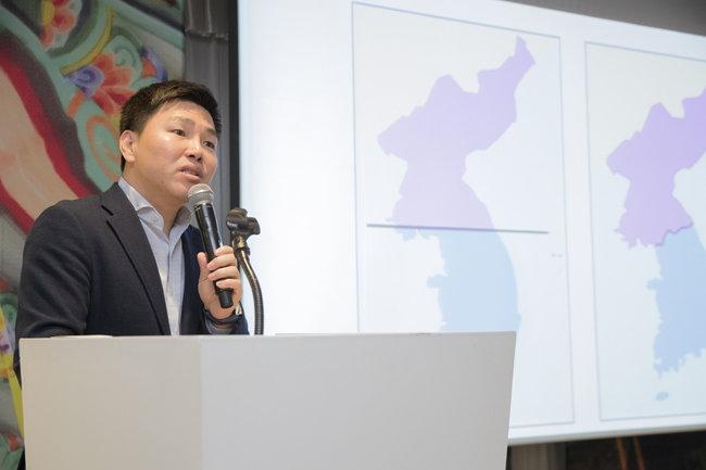 탈북민 '청년 박사' 주승현 인천대 교수가 'GPC 2019' 유스 포럼에서 발언하고 있다. [지호영 기자]