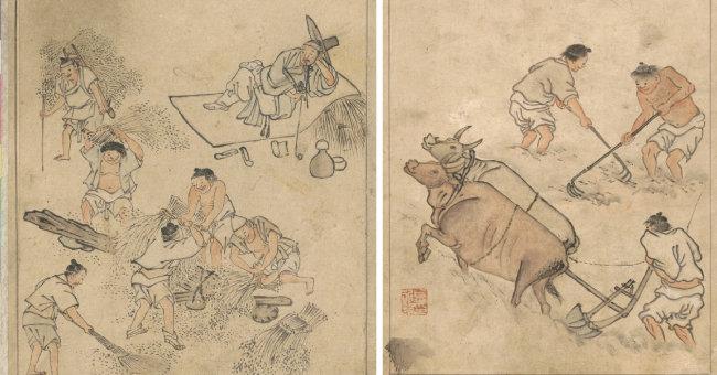 김홍도의 타작(왼쪽)과 논갈이. [국립중앙박물관]