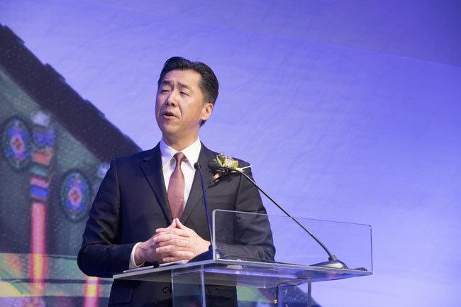 문현진 글로벌피스재단 의장이 2월 28일 GPC 2019 총회에서 기조연설을 하고 있다.