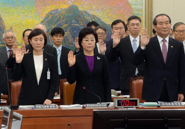 2014년 10월 10일 국회 국정감사에서 증인 선서를 하는 윤주경 독립기념관장, 김옥이 한국보훈복지의료공단 이사장, 박승춘 보훈처장(왼쪽부터). [동아 DB]
