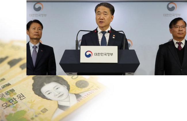 박능후 보건복지부 장관(가운데)이 2019년 3월 11일 서울 정부서울청사에서 2019 보건복지부 업무계획을 발표하고 있다. [뉴시스]
