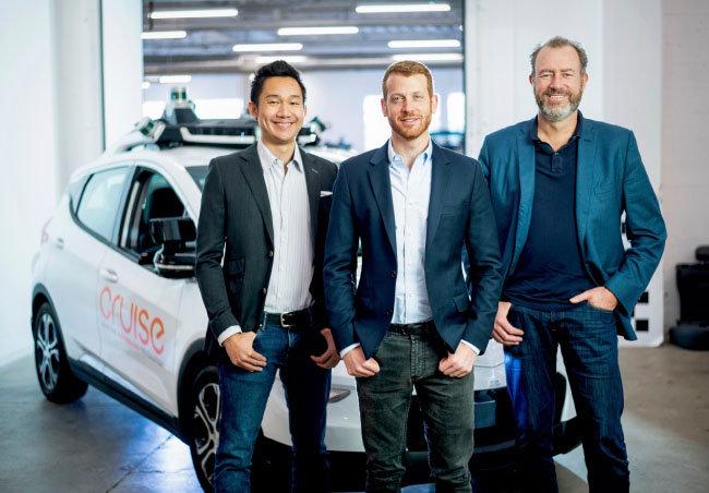 GM 크루즈 오토메이션의단칸 크루즈COO, 카일 보그 크루즈CTO, 댄 암만 크루즈 CEO.(왼쪽부터) [AP=뉴시스]