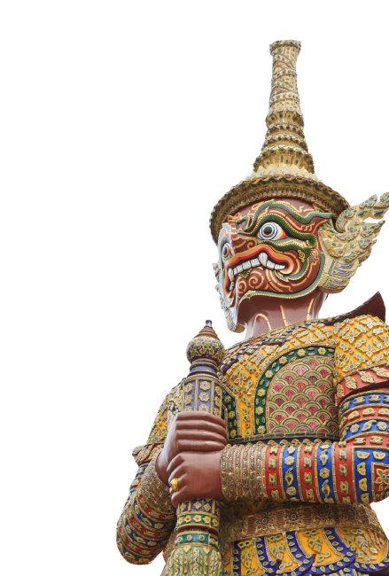 태국의 야차상. 방콕의 왕실 사원  왓 프라깨우(Wat Phra Kaew)에 있다.