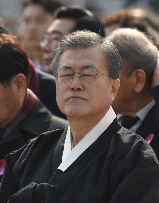 제100주년 3·1절 기념식에 참석한 문재인 대통령. [청와대기자단]