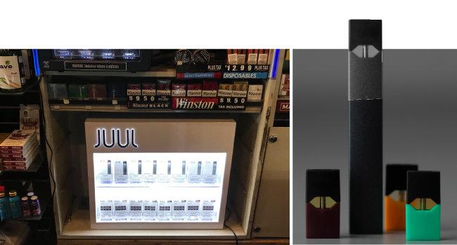 샌프란시스코 미션 스트리트의 한 담배 판매점. 각종 담배 관련 상품이 진열돼 있고, 줄 제품이 별도로 한 코너를 차지하고 있다(왼쪽). 감각적인 디자인과 맛으로 젊은 층에서 인기를 끌고 있는 줄.