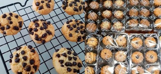 '미미쿠키'가 판매하던 쿠키(왼쪽)와 한 소비자가 포장 둔갑 판매 의혹을 제기한 대형 마트 쿠키 제품. 미미쿠키 측은 결국 의혹을 시인한 뒤 판매를 중단했다. [온라인 커뮤니티 캡처]