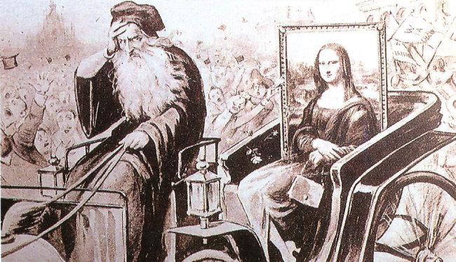 1913년 12월 모나리자가 이탈리아 밀라노에서 전시될 때 주변에서 판매된 엽서. 레오나르도 다빈치가 지친 모습으로 모나리자가 실린 마차를 끌고 가고 있다.