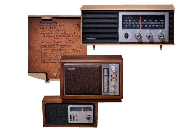 파나소닉, 소니, 제니스 등 외국 가전회사들의 1970년대 라디오. 당시 우리나라 금성사가 OEM 방식으로 만들었다.