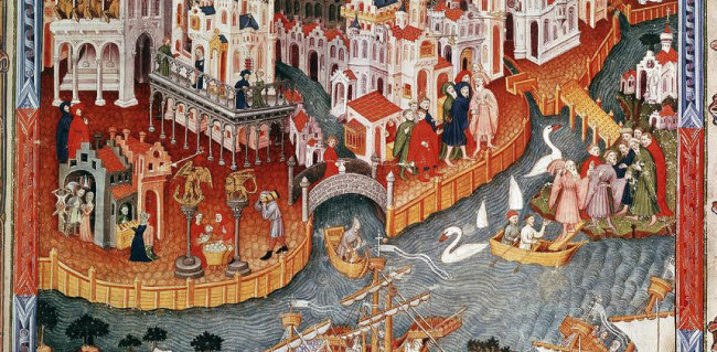 중국에서 베니스로 다시 돌아온 마르코 폴로를 그린 그림. 작가미상. [Oxford Science Archive]