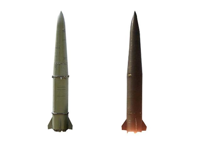 러시아 이스칸데르 미사일(왼쪽)과 북한 신형전술유도무기가 외형상 닮았다. 한국국방안보포럼.