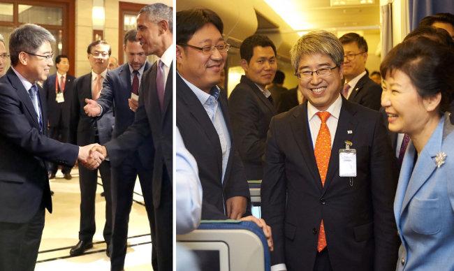 2015년 대통령전용기에서 당시 박근혜 대통령과 함께 기자들과 환담하는 천영식 비서관(오른쪽).  2016년 9월 라오스에서  열린 한미 정상회담 배석 후 버락 오바마 미국 대통령과 악수하는 천영식 비서관 (왼쪽) [천영식 제공]