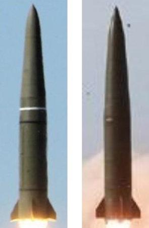 러시아 이스칸데르 미사일(왼쪽)과 북한 신형전술유도무기가 외형상 닮았다. [한국국방안보포럼 ]