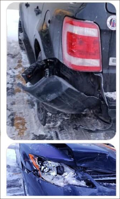 윤지오가 지난 1월 김수민 작가에게 보낸 사진. 위가 윤지오 차량, 아래가 가해 차량이다.