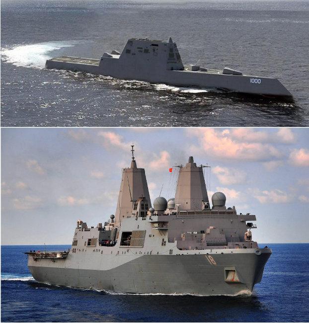 미 해군 스텔스 상륙함인 뉴올리언스함(아래)과 스텔스 구축함인 줌월트함. [동아DB]